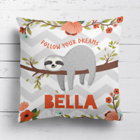 Personalised Sloth Kids Childrens Cushion Cover Pillow Case & Filling Dreams