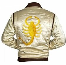 Ryan Gosling Slim fit Drive Scorpion white Satin Bomber Jacket - All Size !!!