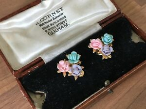 Vintage Glass Cluster Flowers Clip Ons Earrings