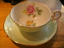 ROYAL GRAFTON Vintage Bone China Tea Cup and Saucer pale green  Pink/yellow rose