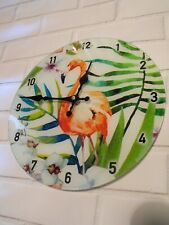 PINK KITCHEN WALL CLOCK FLAMINGO TROPICAL BIRD GLASS KITCHEN LOUNGE WALL A CLOCK