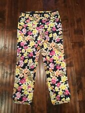 Cartonnier Anthropologie Navy Blue Pants With Floral Print, Size 6