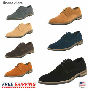Bruno Marc Mens Suede Leather Shoes Lace Up Casual Oxford Shoes Size US6.5-15