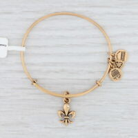 New Alex and Ani French Royalty Crystal Fluer De Lis Bangle Charm Bracelet