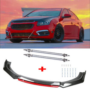 For Chevrolet Cruze Silverado Carbon Fiber Front Bumper Lip Splitter +Strut Rods