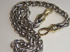DAVID YURMAN SOLID 14K GOLD CLASP , SS WHEAT CHAIN NECKLACE WIDE