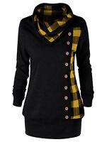 Plus Size XL-5XL Women Hot Sweatshirt Blouse T Shirt Tops Coat Plaid Cowl Neck