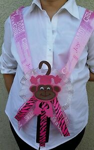 Baby Shower MOM TO BE *MONKEY* SASH,Pink, Gril, Ribbon Favors, Party,Safari