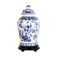 """Beautiful Blue and White Porcelain Chinoiserie Bird Motif Temple Jar 19"""""""
