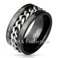 FAMA Stainless Steel Black IP with Words Engraved & Spinner Chain Ring Size 9-14