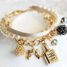 Vintage Pearl Bow disco ball Crystal Rhinestone Chain Bangle Ribbon Bracelet
