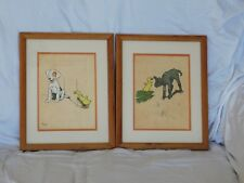 """Pair of Antique Chromolithograph Prints from """"Farm Babies"""" 1909 by Cecil Aldin"""