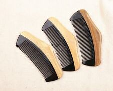 Customize Logo-Greensandalwood+Ox Horn Comb Beard Comb Wholesale 20/lots