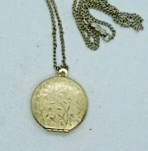 Vintage Engraved Gold Tone Photo Locket Necklace