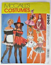 Naughty Halloween McCalls Costumes 2890 Misses All Sizes Uncut Witch Nurse Maid