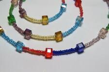 CG4355 Cristal & Vidrio con Cuentas Arcoiris Collar