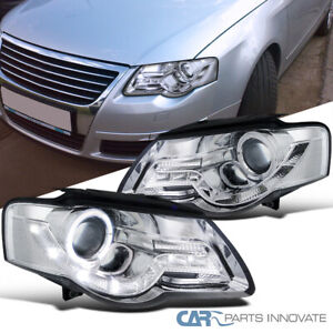 For 06-10 VW Passat LED Daytime Clear Halo Projector Headlights B6 Head Lamps