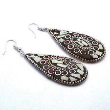 Jewelry Nepal Silver Handmad Earrings Nep875 White Quartz & Coral Stone Tibetan