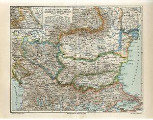 1899 ROMANIA BULGARIA SERBIA MONTENEGRO BUKOVINA UKRAINE RUSSIA TURKEY Map dated