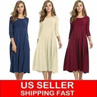 US Women Long Sleeve Shirt Long Maxi Dress Casual Flared Swing Skater Midi Dress