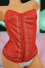 Say What? Sexy Red Fancy Gray Embroidery Sissy Corset Bustier Top sz M