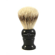 Edwin Jagger English Imitation Ebony, Medium. Super Badger Shaving Brush + Stand