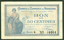 NECESSITE 50 CENTIMES CHAMBRE DE COMMERCE DE NARBONNE  ETAT: SUP lot 608