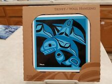 Porpoises or Whale Trivet / Wall Hanging Art Tile Panobo Made Canada Cork Back