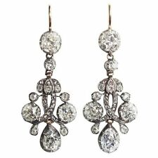 Black Plated Pear drop CZ 925 Sterling Silver Vintage Style Earrings for Women