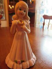 "Growing Up Birthday Girls Age 9~Blond~Pink Dress 5"" (1981) Enesco Figurine"