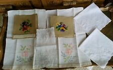 Vintage Lot 7 Embroidered Roses Towel Knit Chair Seat Cover Napkins Table cloth