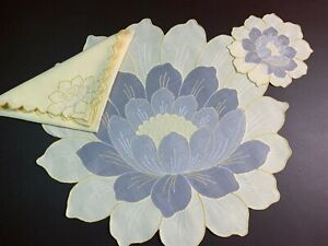VINTAGE MADEIRA SET of 8 PLACEMATS, NAPKINS, COASTERS -  FIGURAL LOTUS BLOSSOMS