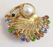 DIAMANTE AND  GOLD COLOUR BROOCH 45MM X 40MM