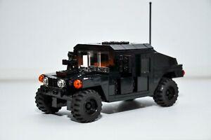 Custom Police SWAT H1 Tank Slant Back Black Truck Military Model Built with LEGO
