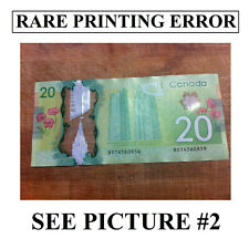 RARE PRINTING ERROR Canada misaligned 20$ bank note 9 error number printed lower