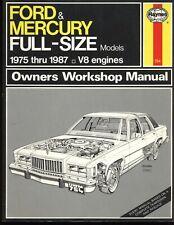Ford  & Mercury Full-Size Models V8 ~ 1975 -1987 ~ Haynes Repair Manuals ~ #754