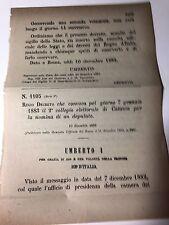 Regio Decreto 10/12/1882 Nomina deputato 7 gennaio 1883 coll. elet. Catania- 559