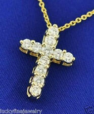 14k Solid Yellow gold Natural Diamond Cross pendant 0.66 ct shared prong