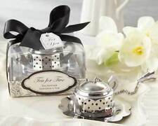 50 Silver Tea For Two Teapot Tea Infuser Bridal Wedding Party Favor in Gift Box