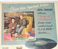 LA-Z-BOY Vintage Print Ad 1967 Bing Crosby Songs of Christmas Vinyl Decca Record