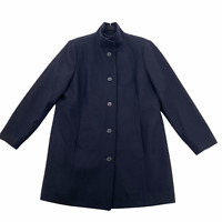 Lands End Pea Coat Wool Blend Navy Blue Button Front Jacket Women's Size 16P