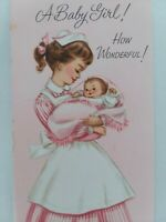 1950s NURSE Pink CANDY Striper Dress BABY GIRL Vtg CONGRATULATIONS GREETING CARD