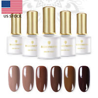 BORN PRETTY 6Bottles/Set Soak Off Gel Polish 6ML Coffee Series Nail Art Polish