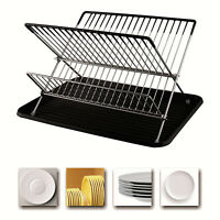 2 Tier Folding Dish Drainer Rack Wired Draining Plate Tray Sink Drying Storage