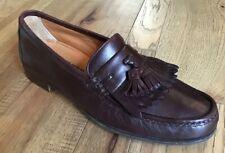 Ferragamo Mens Tassel Loafers Burgundy Brown Size 9 Minty