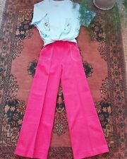VINTAGE RETRO ORIGINAL 70s 1970s DEADSTOCK RED FLARES FLARED TROUSERS XS S Teen