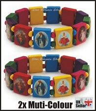 2X RAINBOW Wooden Elasticated Saints Bracelet Jesus Wristband Religious Saints