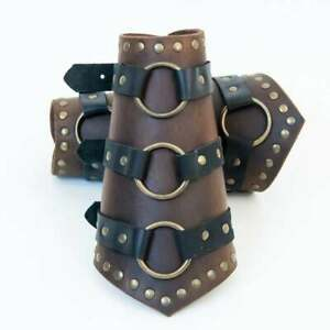 Leather arm bracer for LARP cosplay Medieval costume decorative O-ring steampunk