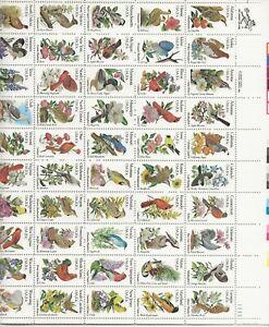 1982 20 cent Birds and Flowers full Sheet of 50, Scott #1953-2002, Mint NH