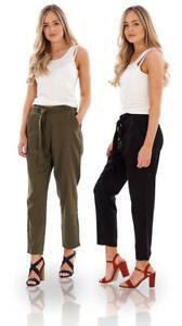 Ladies Tapered Leg Pants Elasticated Waist Linen Trousers